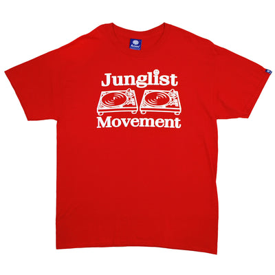 "Mens ""Junglist Movement"" T-Shirt (Red) - Unearthed Sounds"
