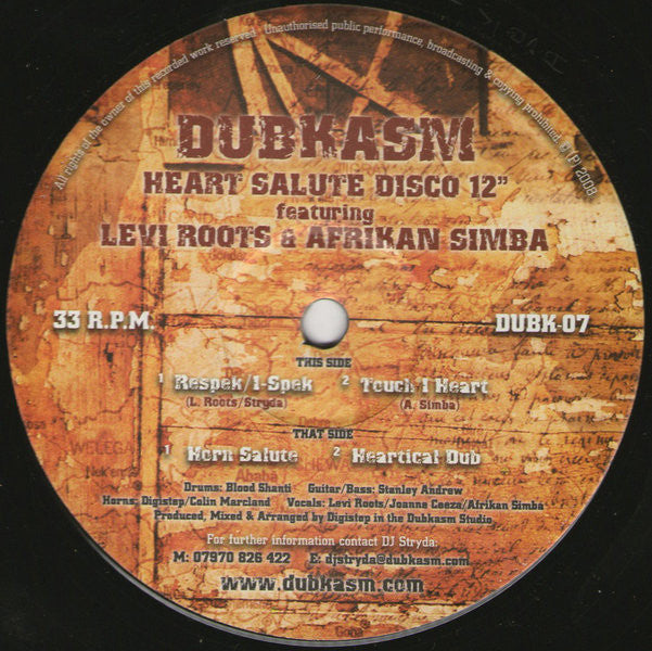 Dubkasm (feat. Levi Roots & Afrikan Simba) - Heart Salute Disco - Unearthed Sounds