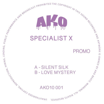 "Specialist X - Silent Silk / Love Mystery [10"" Vinyl] - Unearthed Sounds"