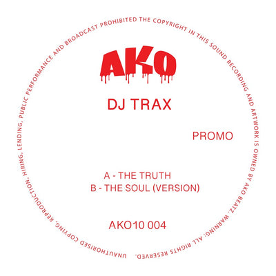 "AKO10 Series Presents: DJ Trax [Limited 10"" Red Vinyl] - Unearthed Sounds"