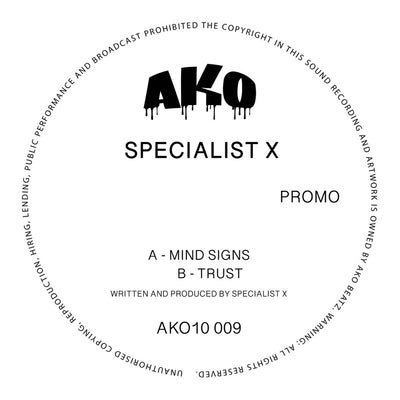 "AKO10 Series Presents: Specialist X - Mind Signs / Trust [Pure white 10"" vinyl]"