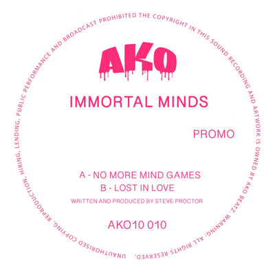 "AKO10 Series Presents: Immortal Minds - No More Mind Games / Lost In Love [Fuchsia pink transparent 10"" vinyl]"