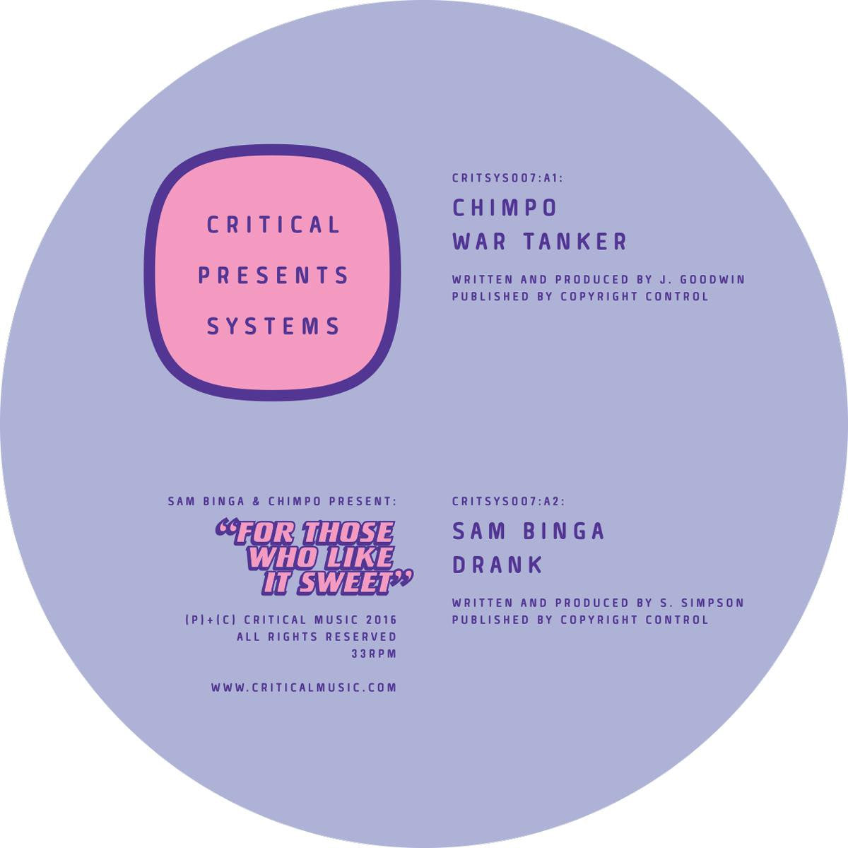 Sam Binga & Chimpo - For Those Who Like It Sweet [w/ Download Card] , Vinyl - Critical Music, Unearthed Sounds
