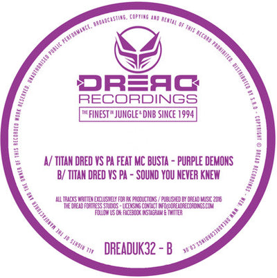 Titan Dred - Purple Demons Ep , Vinyl - Dread UK, Unearthed Sounds