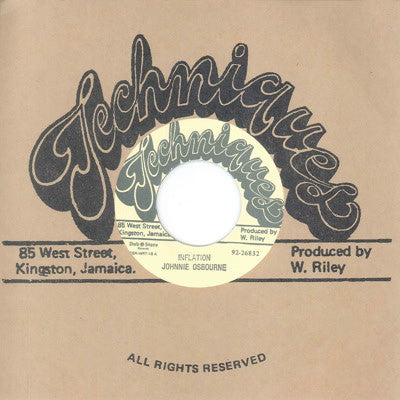 "Johnny Osbourne & Techniques All Stars - Inflation [7"" Vinyl] - Unearthed Sounds"