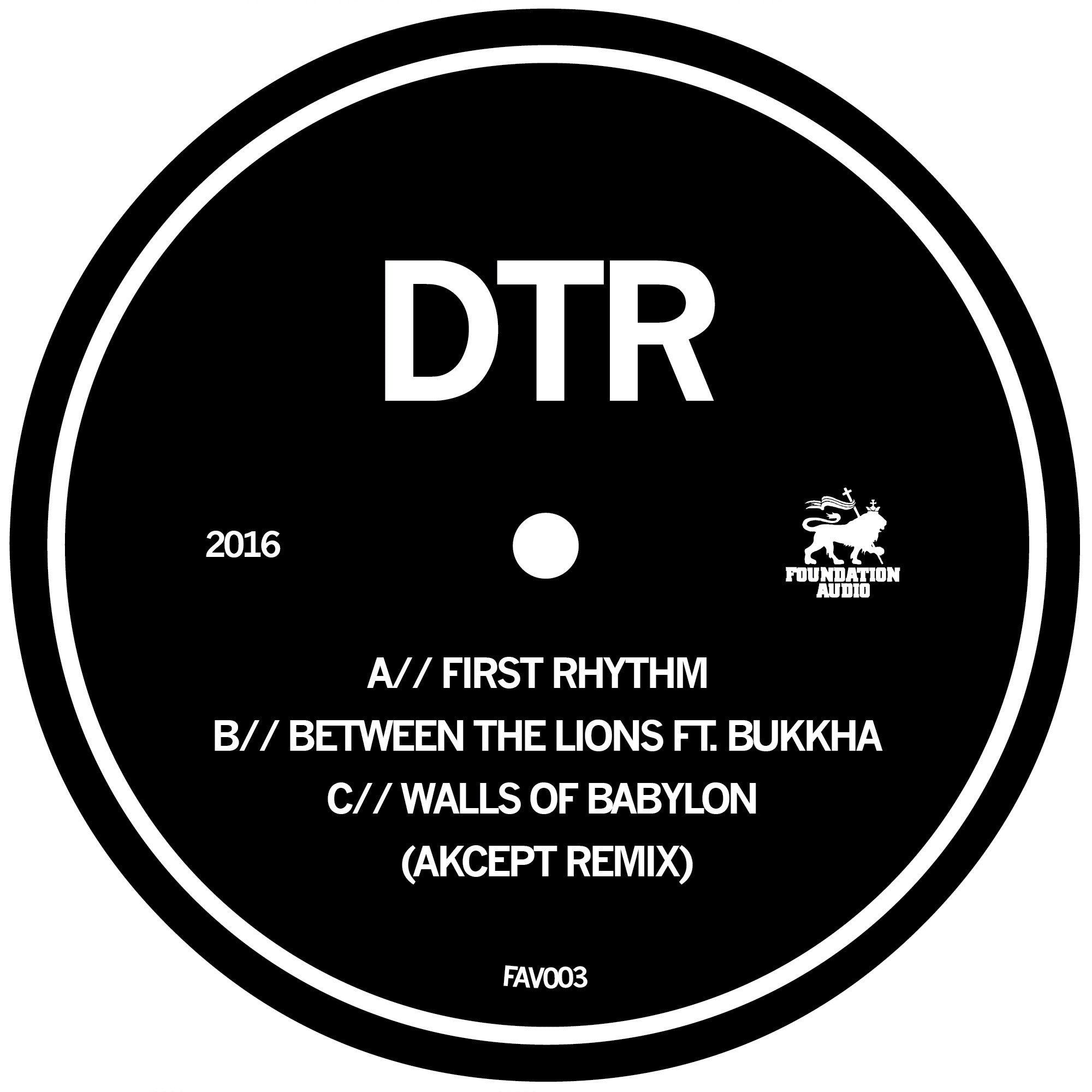 DTR - First Rhythm / Between The Lions (ft. Bukkha) / Walls of Babylon (Akcept remix) , Vinyl - Foundation Audio, Unearthed Sounds