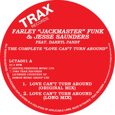 "Farley ""Jackmaster"" Funk & Jesse Saunders (Ft. Darryl Pandy) - Love Can't Turn Around - Unearthed Sounds, Vinyl, Record Store, Vinyl Records"