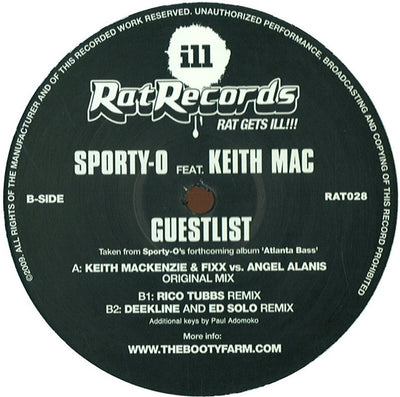 Sporty O Feat Keith Mac - Guestlist (Rico Tubbs & Deekline & Ed Solo Mixes) - Unearthed Sounds