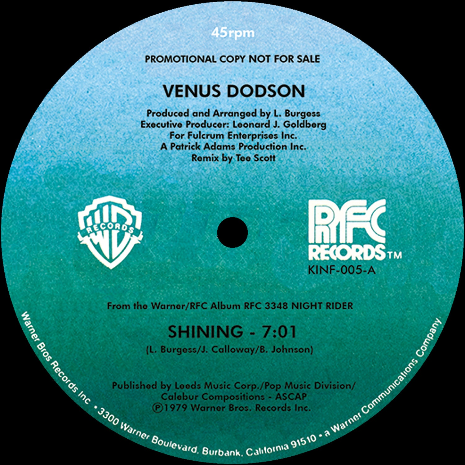 "Venus Dodson - Shining / He Said She Said [12"" Remaster]"