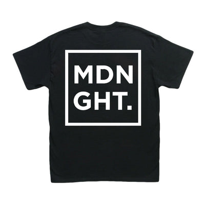 MDNGHT T-Shirt (White Print On Black Tee) - Unearthed Sounds