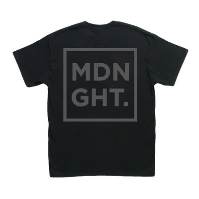 MDNGHT T-Shirt (Black Print on Black Tee) - Unearthed Sounds