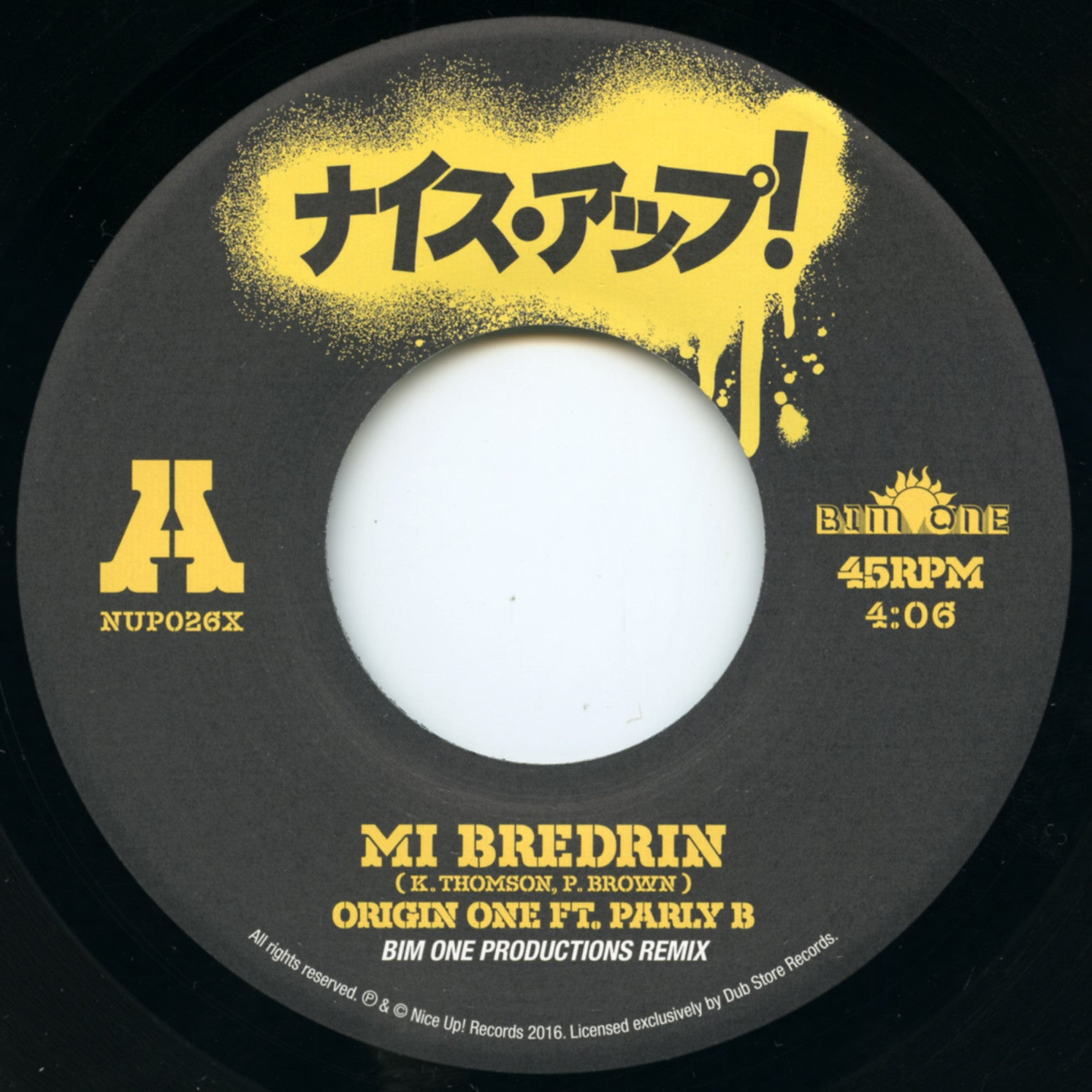 Origin One ft. Parly B - Mi Bredren (Bim One Productions Remix) [Japanese Press] , Vinyl - Nice Up, Unearthed Sounds