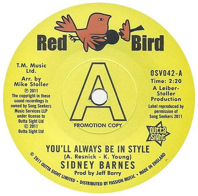 Sidney Barnes - You'll Always Be In Style , Vinyl - Outta Sight, Unearthed Sounds