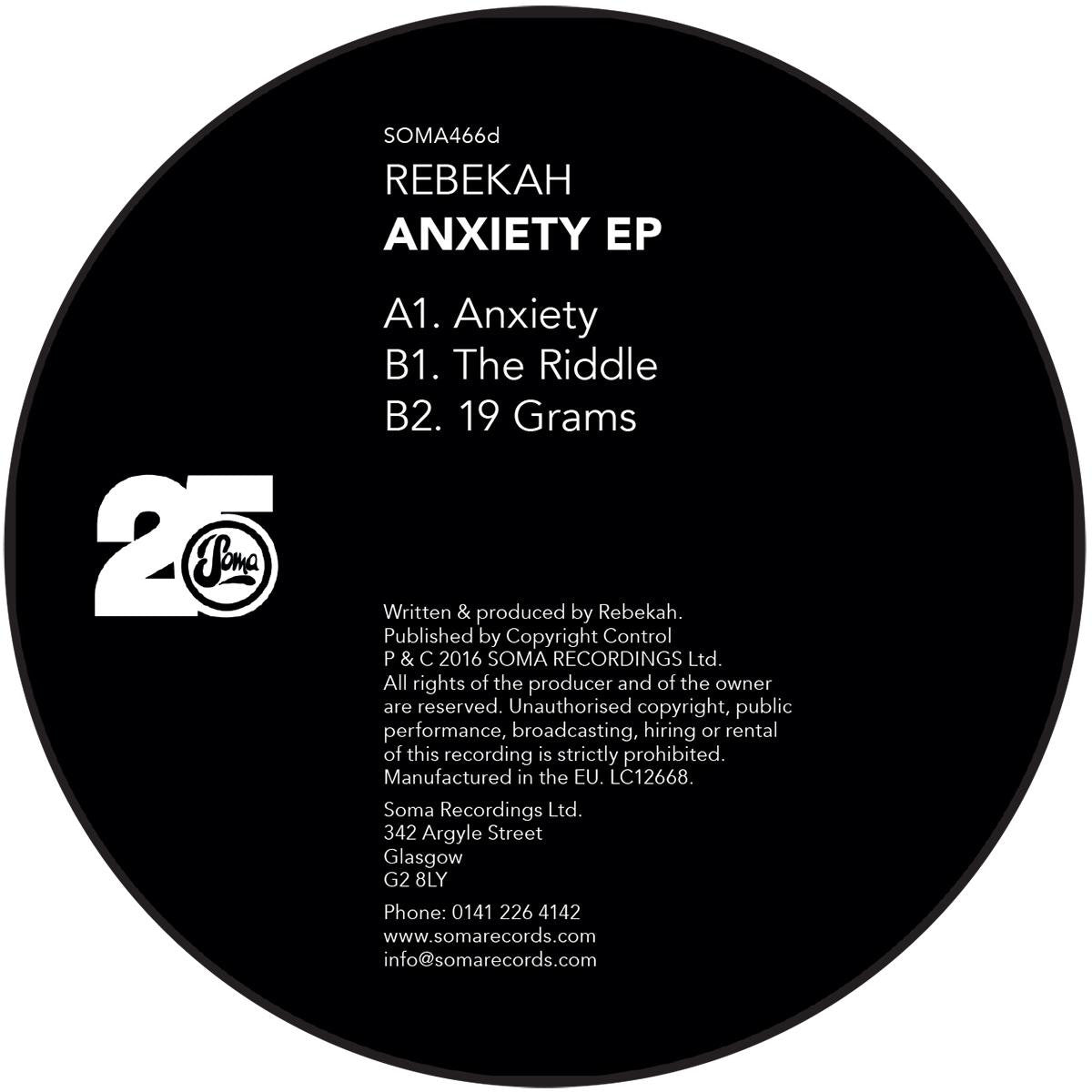 Rebekah - Anxiety , Vinyl - Soma Quality Recordings, Unearthed Sounds