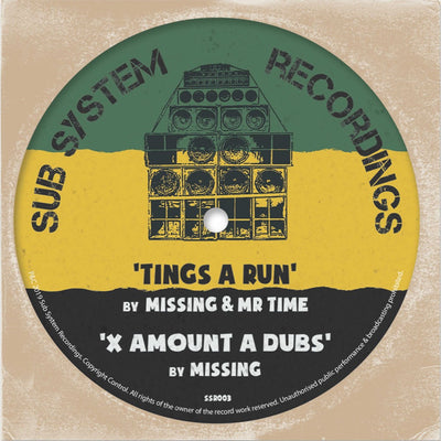 "Missing & Mr Time - Tings a Run / X Amount A Dubs [Limited 10"" Vinyl]"