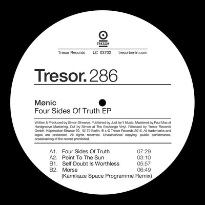 Monic - Four Sides Of Truth , Vinyl - Tresor, Unearthed Sounds