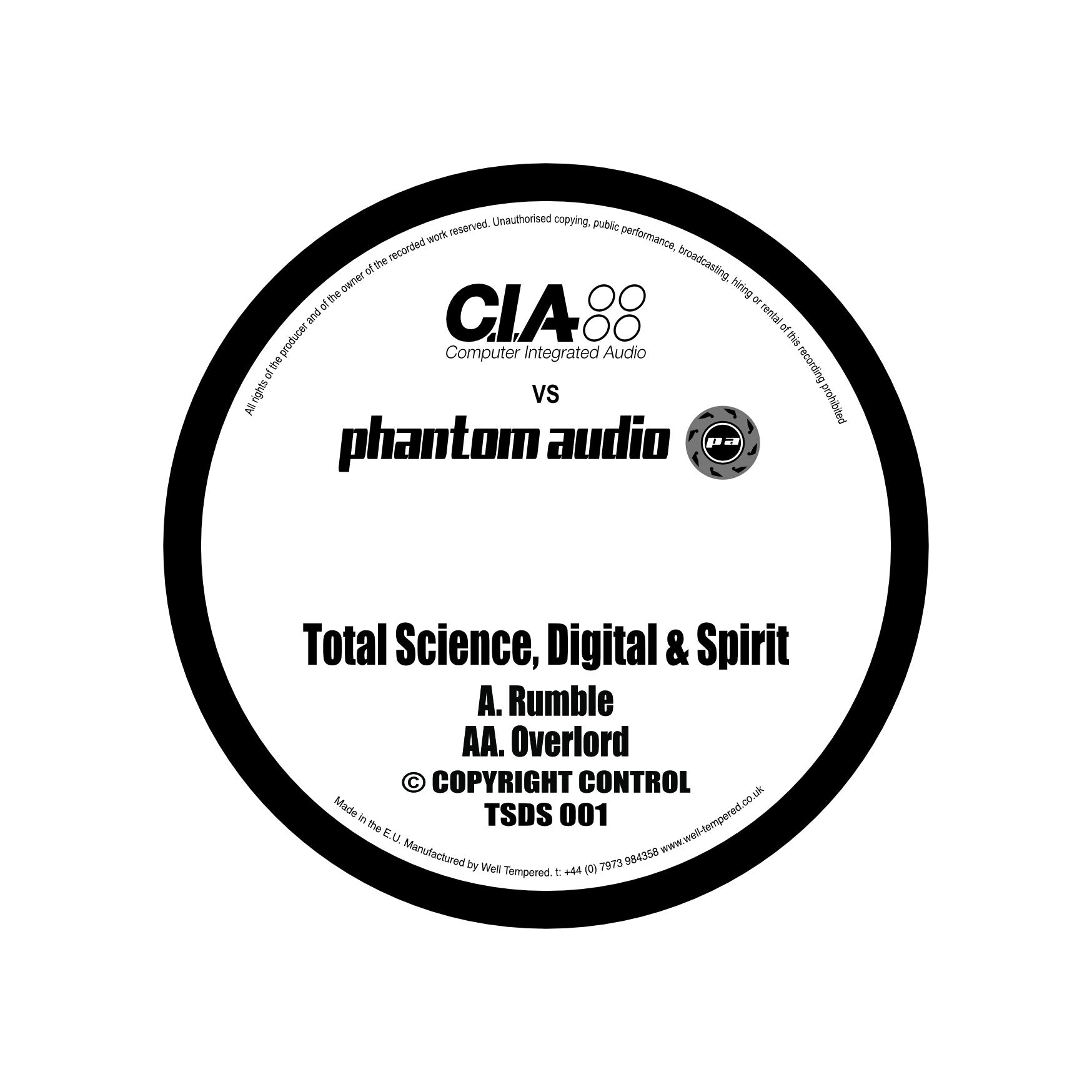 "C.I.A v Phantom Audio Vol.1 (10"" Vinyl) , Vinyl - CIA v Phantom Audio, Unearthed Sounds"