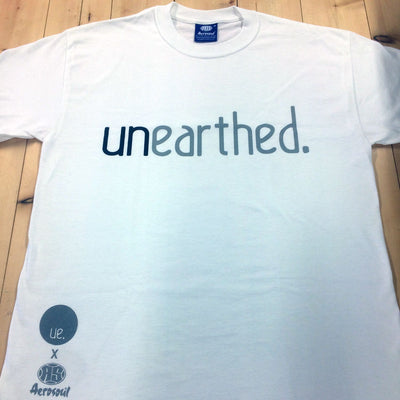 Unearthed x Aerosoul (White) Collaboration Heavy Blend T-Shirt - Unearthed Sounds