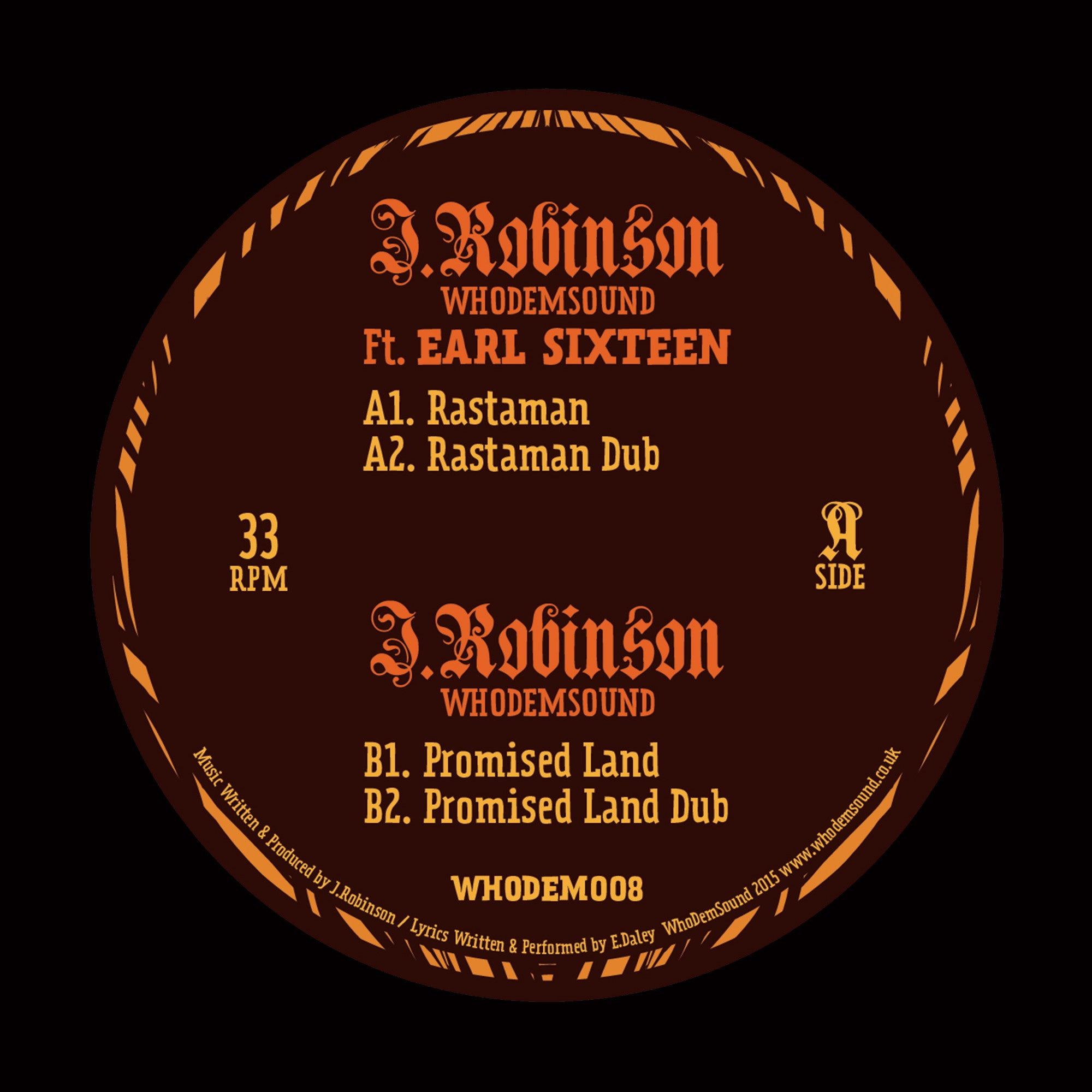 "J.Robinson WhoDemSound (ft. Earl 16) - Rastaman [180g 12"" Vinyl] - Unearthed Sounds"
