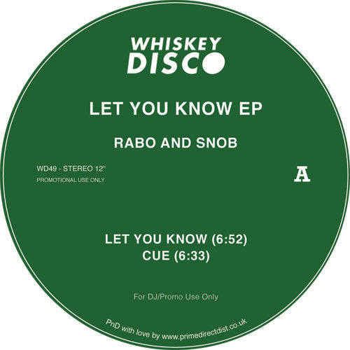 Rabo & Snob - Let You Know EP , Vinyl - Whiskey Disco, Unearthed Sounds