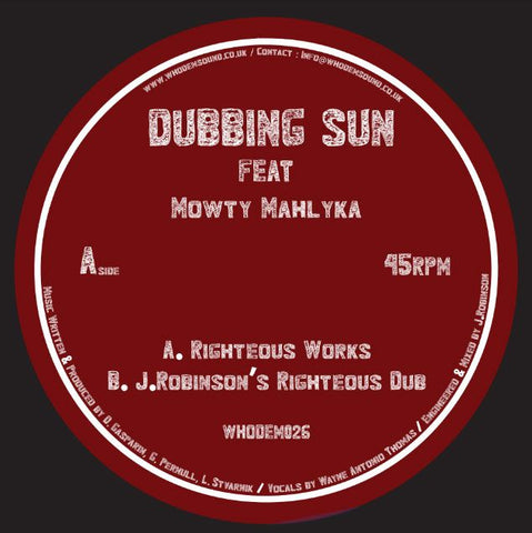 "Dubbing Sun (feat. Mowty Mahlyka) / J.Robinson - Righteous Works [7"" Vinyl]"