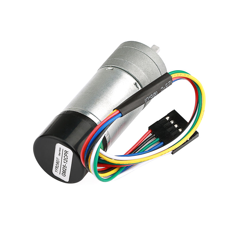 Metal Gearmotor GA25 12V with 16 CPR Encoder.
