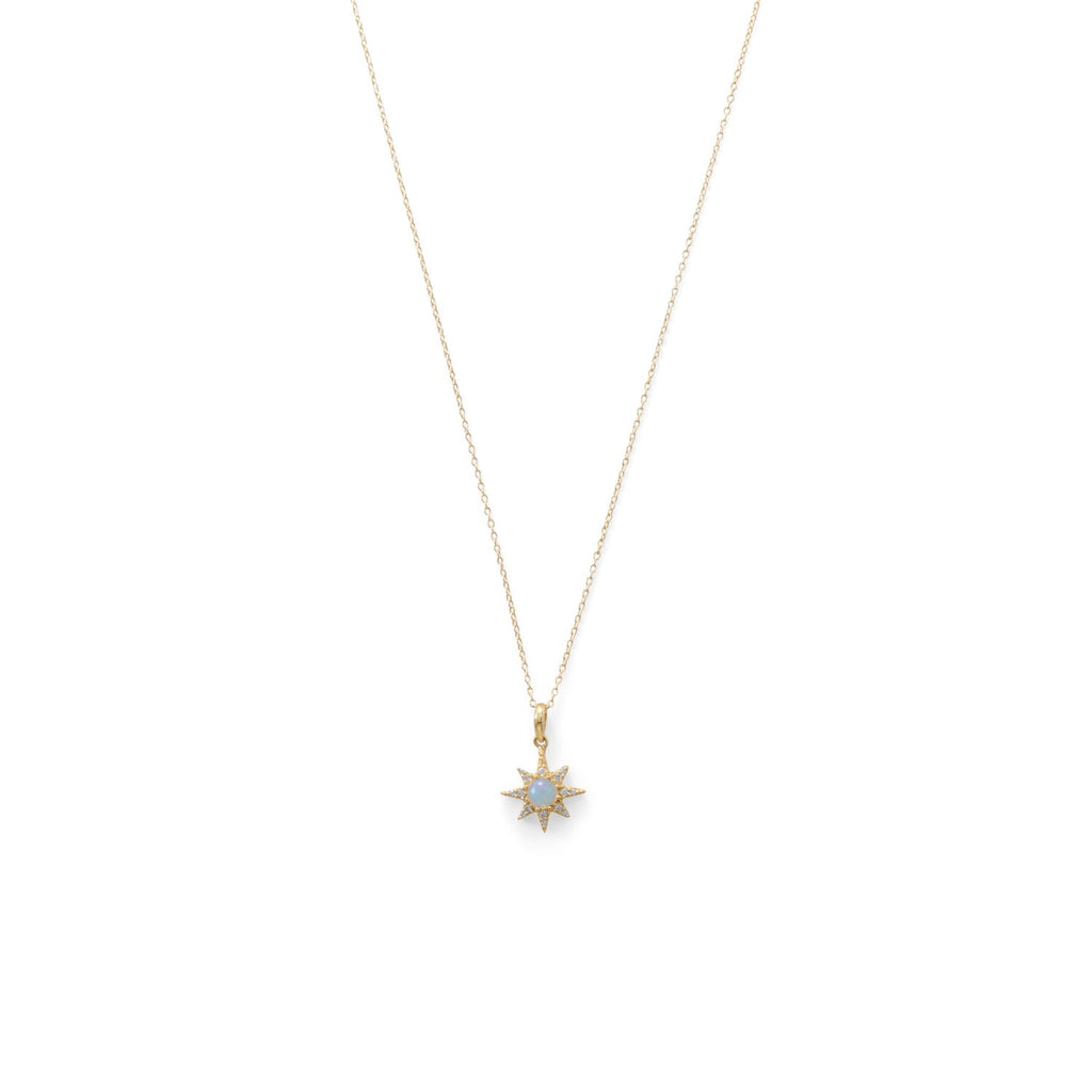 14 Karat Gold Plated CZ Star and Synthetic Opal Necklace