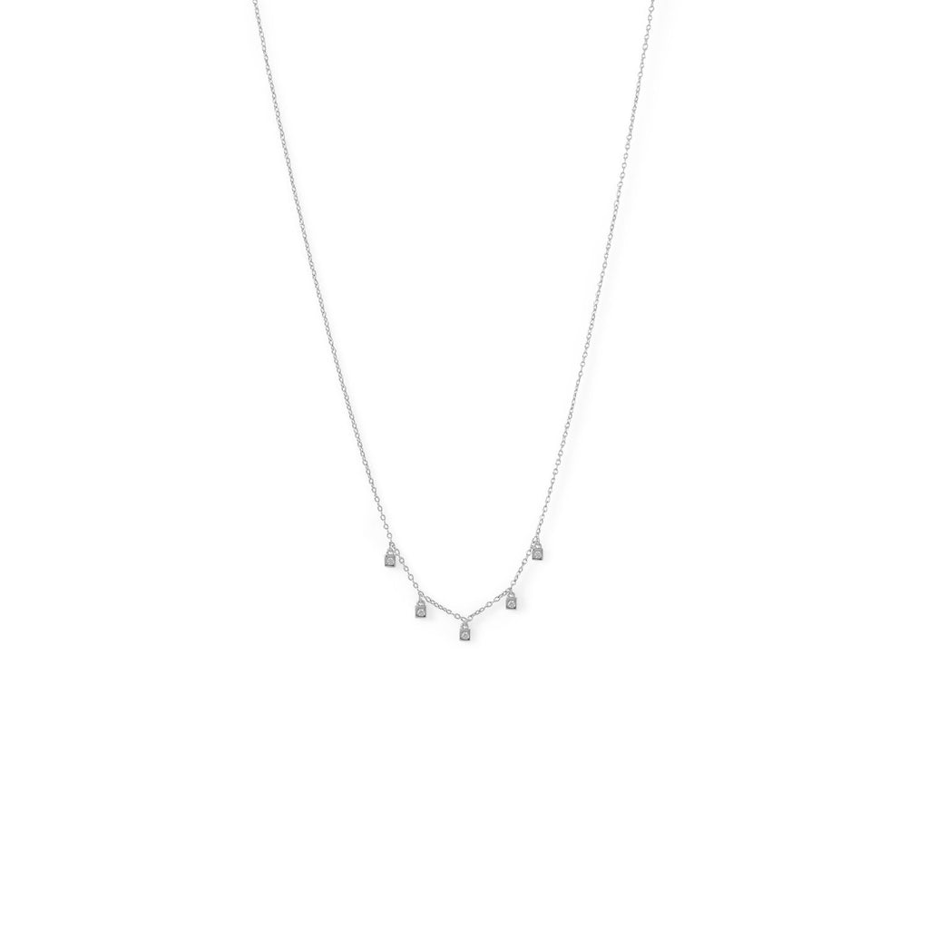 Rhodium Plated Dainty CZ Charm Necklace