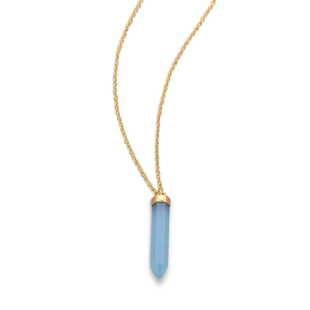 14 Karat Gold Plated Spike Pencil Cut Blue Chalcedony Necklace