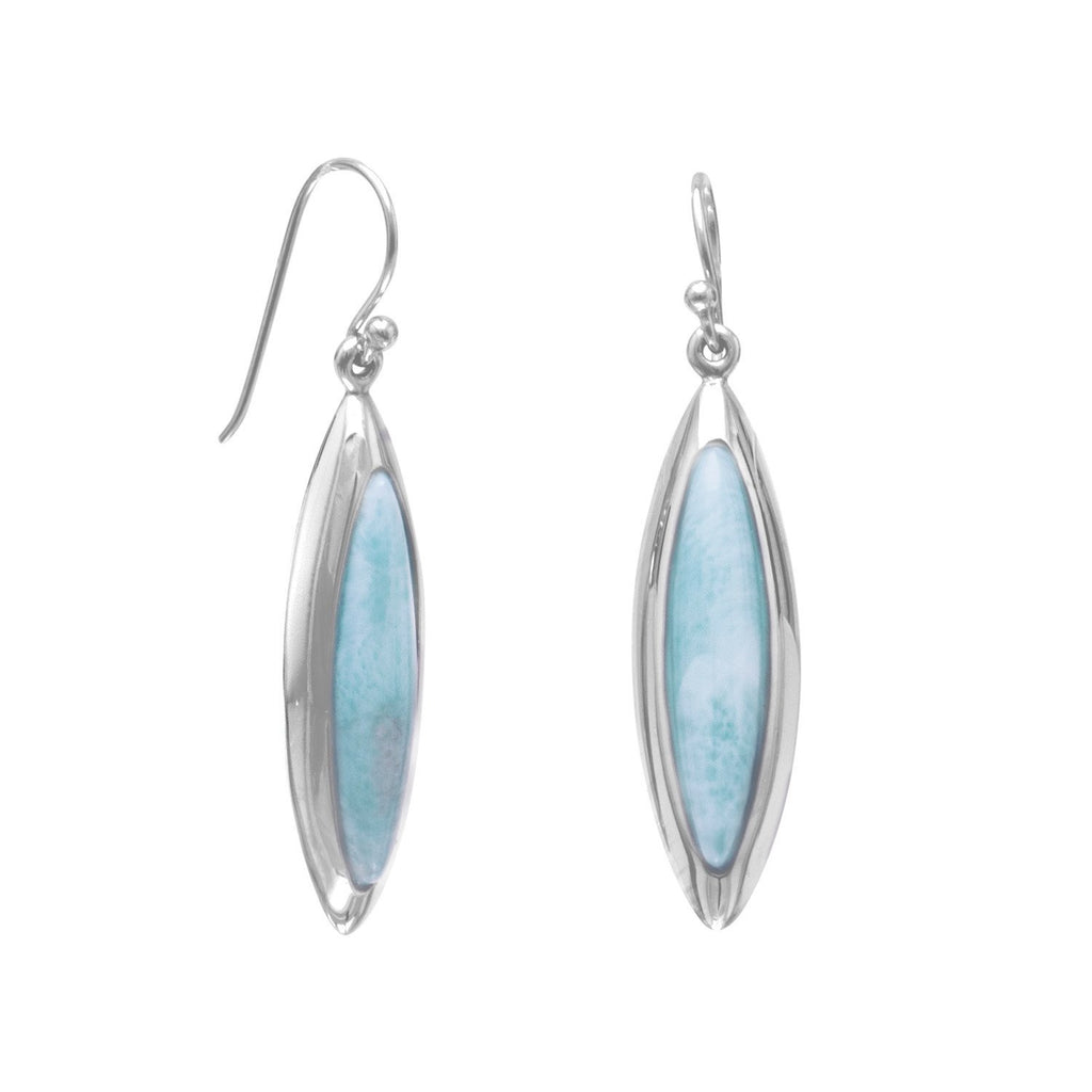 Rhodium Plated Marquise Larimar Earrings