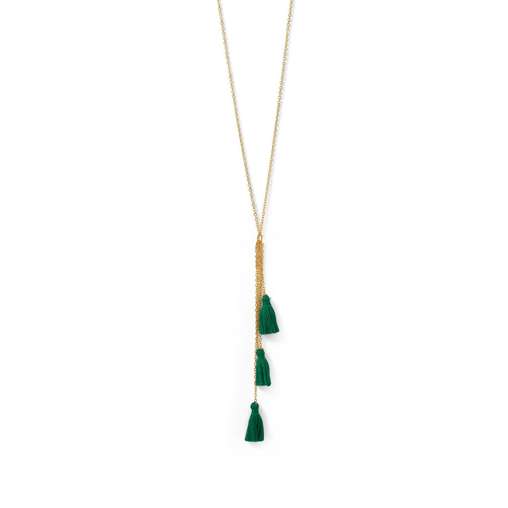 Gold Tone Multi-Strand Green Threaded Tassel Necklace