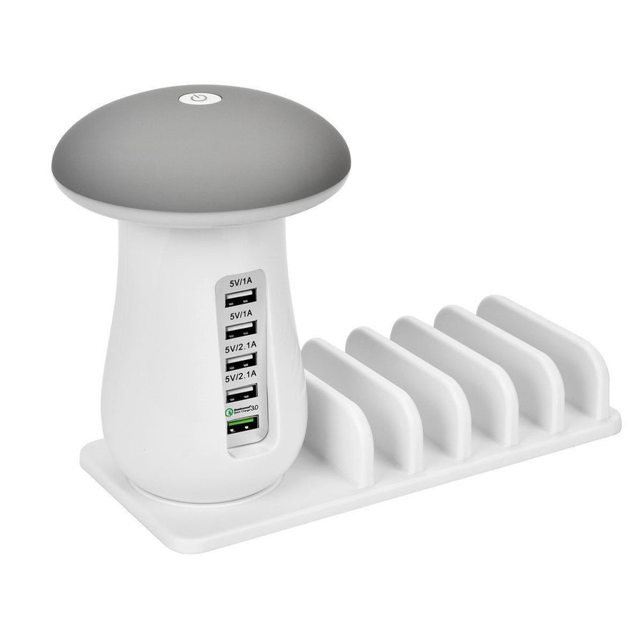5 Port Multi-USB Smart Charging Station Mushroom Lamp Charger Stand For iPhone iPad