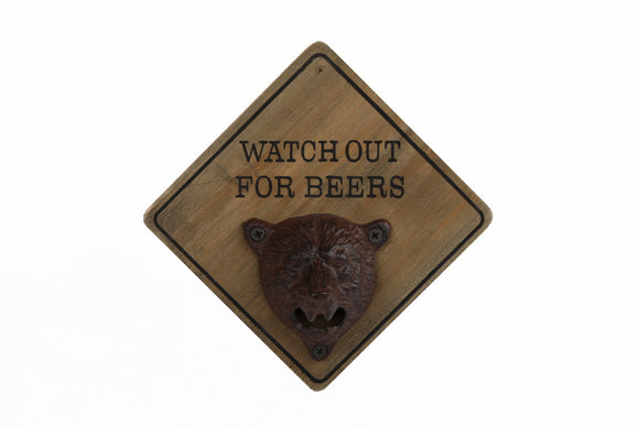 Van Manen Flesopener 'Watch Out For Beers' 15X15X9 Cm Hout
