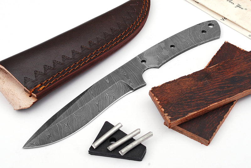 Damascus Knife Making Kit DIY Handmade Damascus Steel Includes Blank Blade, Pins, Leather Sheath, Handle Scales for Knife Making Supplies by ColdLand | NB101 - ColdLand Knives