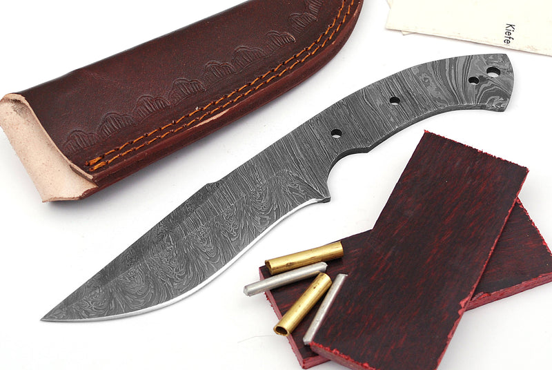 Damascus Knife Making Kit DIY Handmade Damascus Steel Includes Blank Blade, Pins, Leather Sheath, Handle Scales for Knife Making Supplies by ColdLand | NB102 - ColdLand Knives