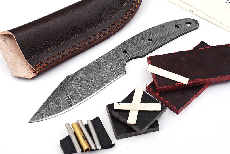 Damascus Knife Making Kit DIY Handmade Damascus Steel Includes Blank Blade, Pins, Leather Sheath, Handle Scales for Knife Making Supplies by ColdLand | NB109 - ColdLand Knives