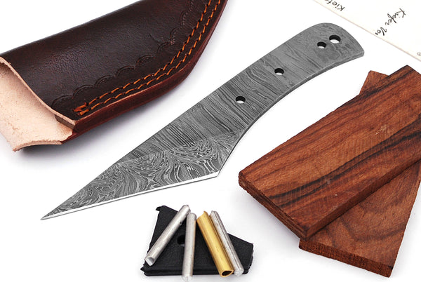 Damascus Knife Making Kit DIY Handmade Damascus Steel Includes Blank Blade, Pins, Leather Sheath, Handle Scales for Knife Making Supplies by ColdLand | NB110 - ColdLand Knives