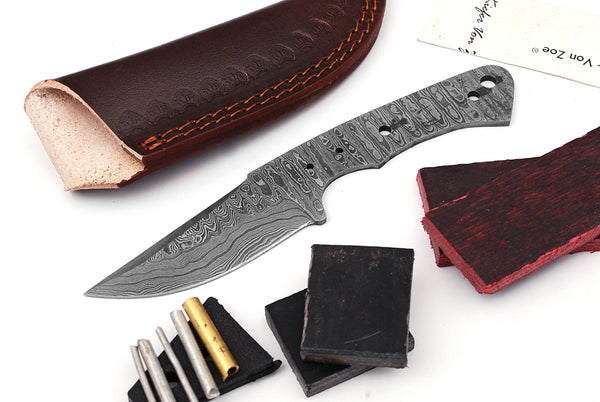 Damascus Knife Making Kit DIY Handmade Damascus Steel Includes Blank Blade, Pins, Leather Sheath, Handle Scales for Knife Making Supplies by ColdLand | NB111 - ColdLand Knives