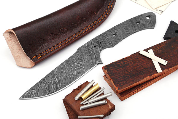 Damascus Knife Making Kit DIY Handmade Damascus Steel Includes Blank Blade, Pins, Leather Sheath, Handle Scales for Knife Making Supplies by ColdLand | NB114 - ColdLand Knives