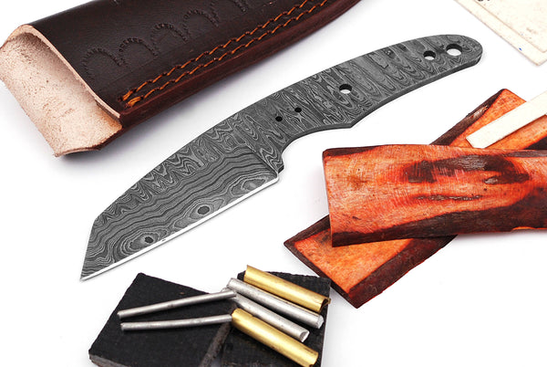 Damascus Knife Making Kit DIY Handmade Damascus Steel Includes Blank Blade, Pins, Leather Sheath, Handle Scales for Knife Making Supplies by ColdLand | NB116 - ColdLand Knives