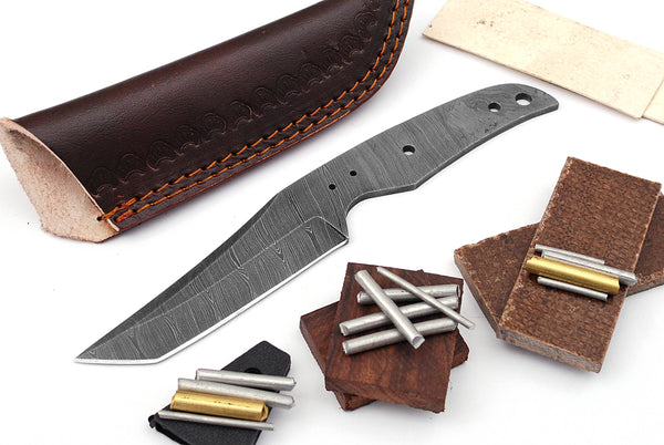 Damascus Knife Making Kit DIY Handmade Damascus Steel Includes Blank Blade, Pins, Leather Sheath, Handle Scales for Knife Making Supplies by ColdLand | NB117 - ColdLand Knives