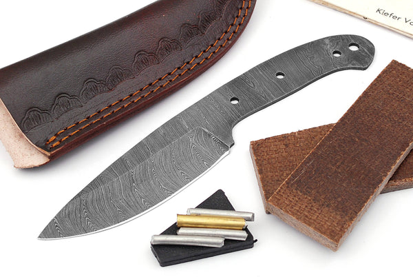 Damascus Knife Making Kit DIY Handmade Damascus Steel Includes Blank Blade, Pins, Leather Sheath, Handle Scales for Knife Making Supplies by ColdLand | NB118 - ColdLand Knives