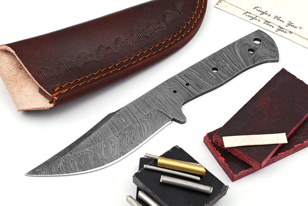 Damascus Knife Making Kit DIY Handmade Damascus Steel Includes Blank Blade, Pins, Leather Sheath, Handle Scales for Knife Making Supplies by ColdLand | NB119 - ColdLand Knives