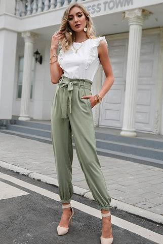 women in green trousers