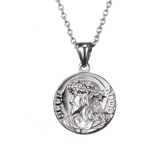 Jesus and Virgin Mary Coin Necklace