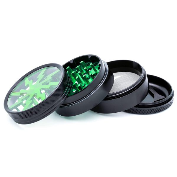 "WizardPuff Sunburst Shredder 4-Piece Grinder 2.5"" (Kush Green)"