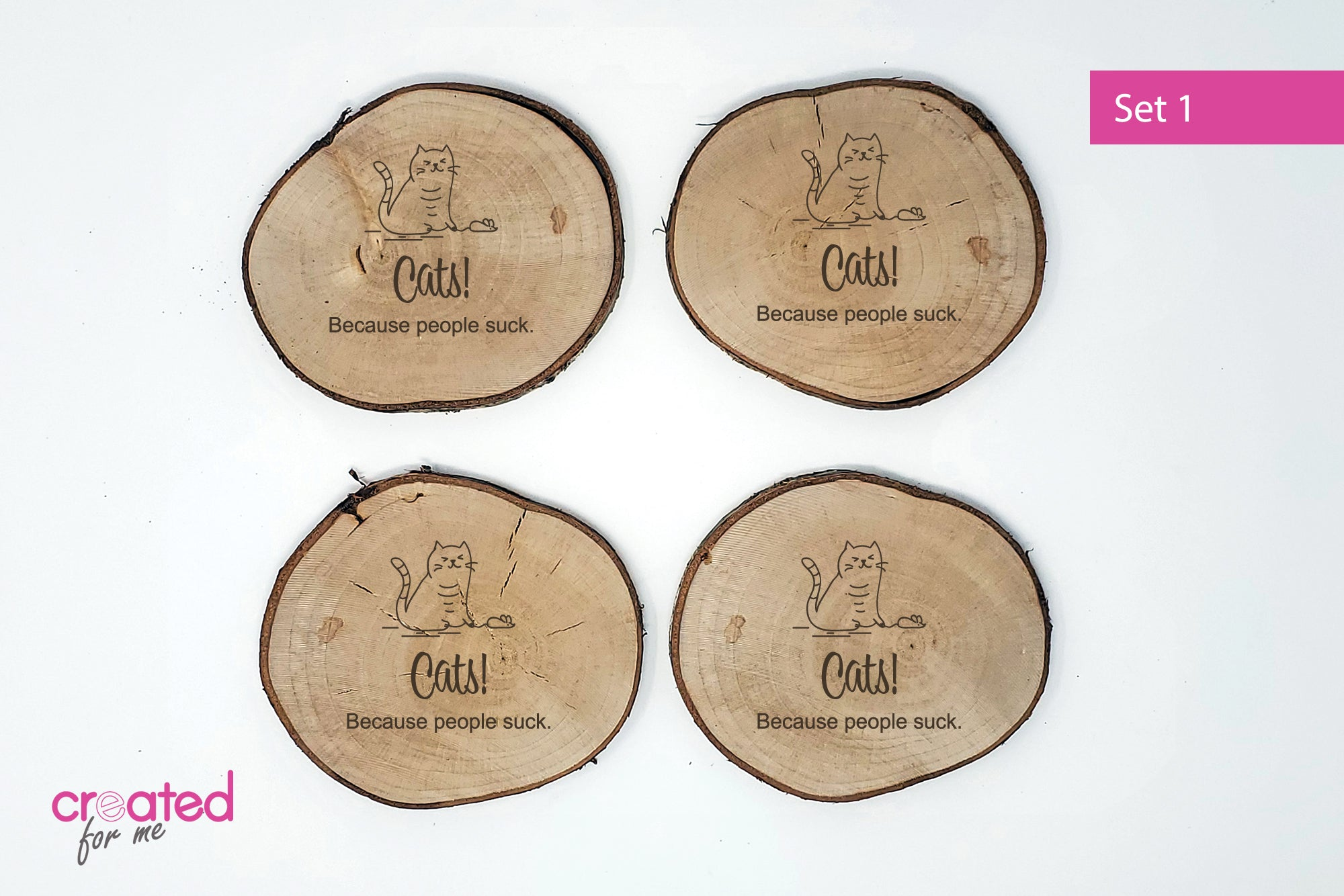 Cat-Themed Coasters - Set of 4