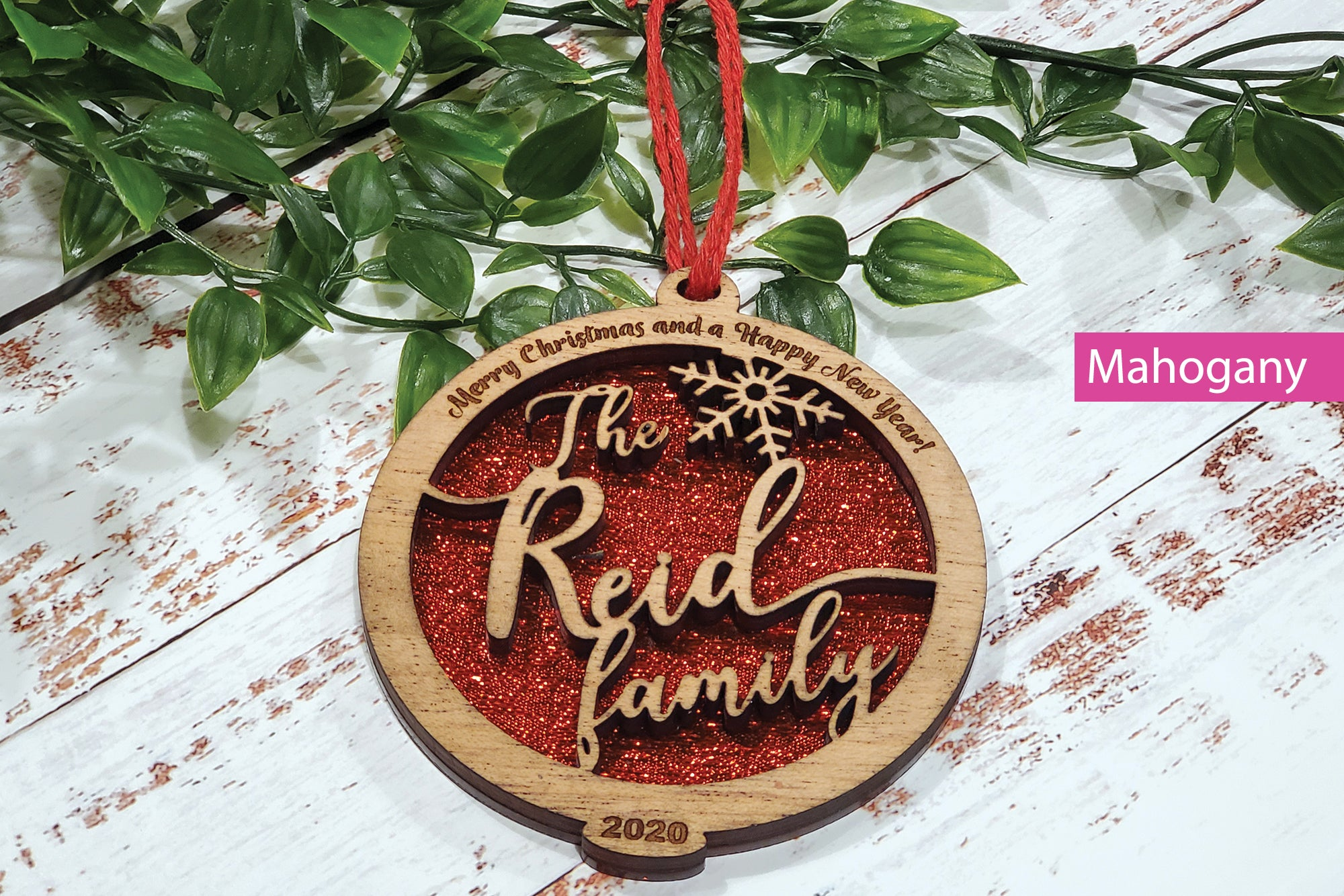 Personalised Name With Engraved Frame Tree Ornament