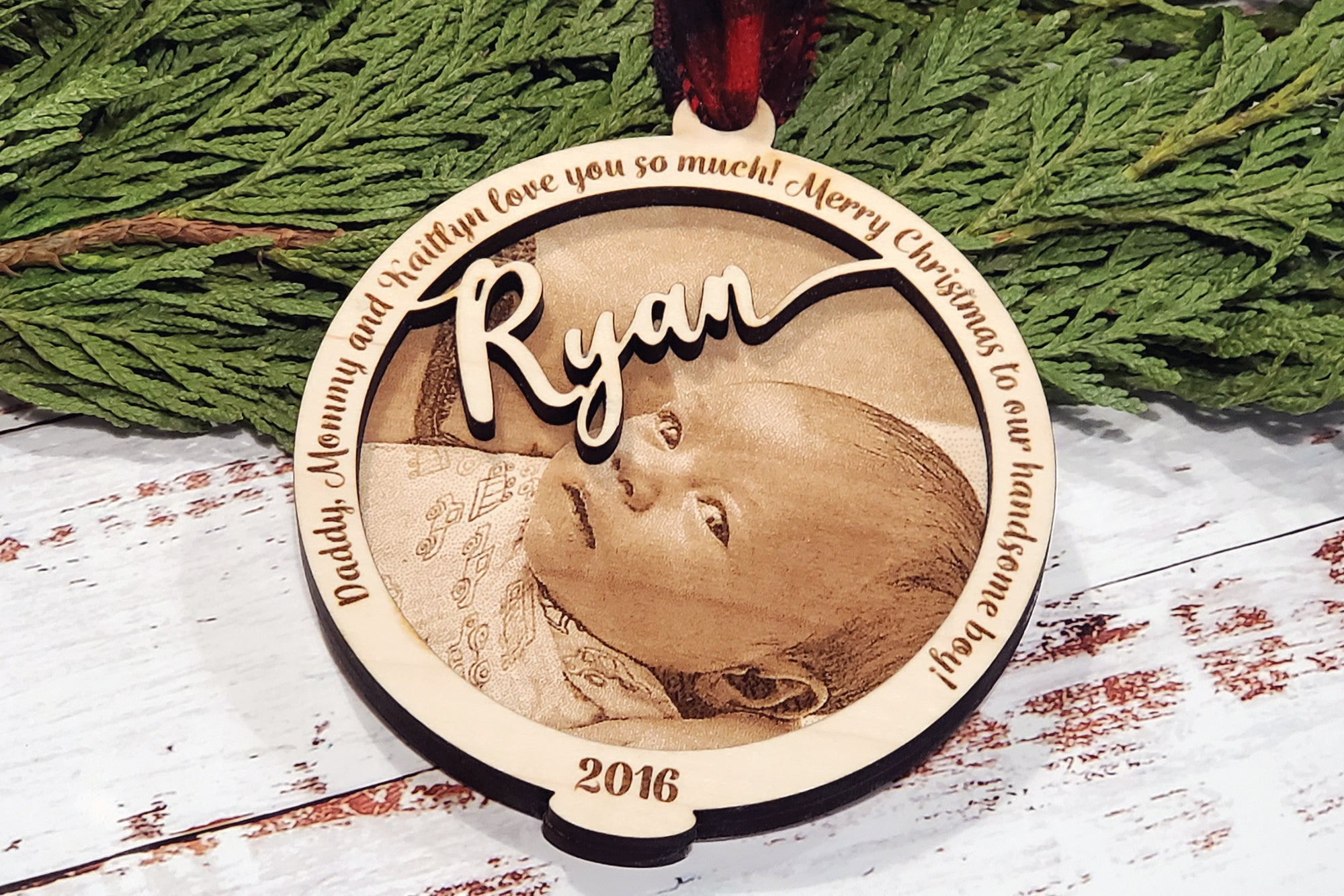 Photo Engraved Tree Ornament