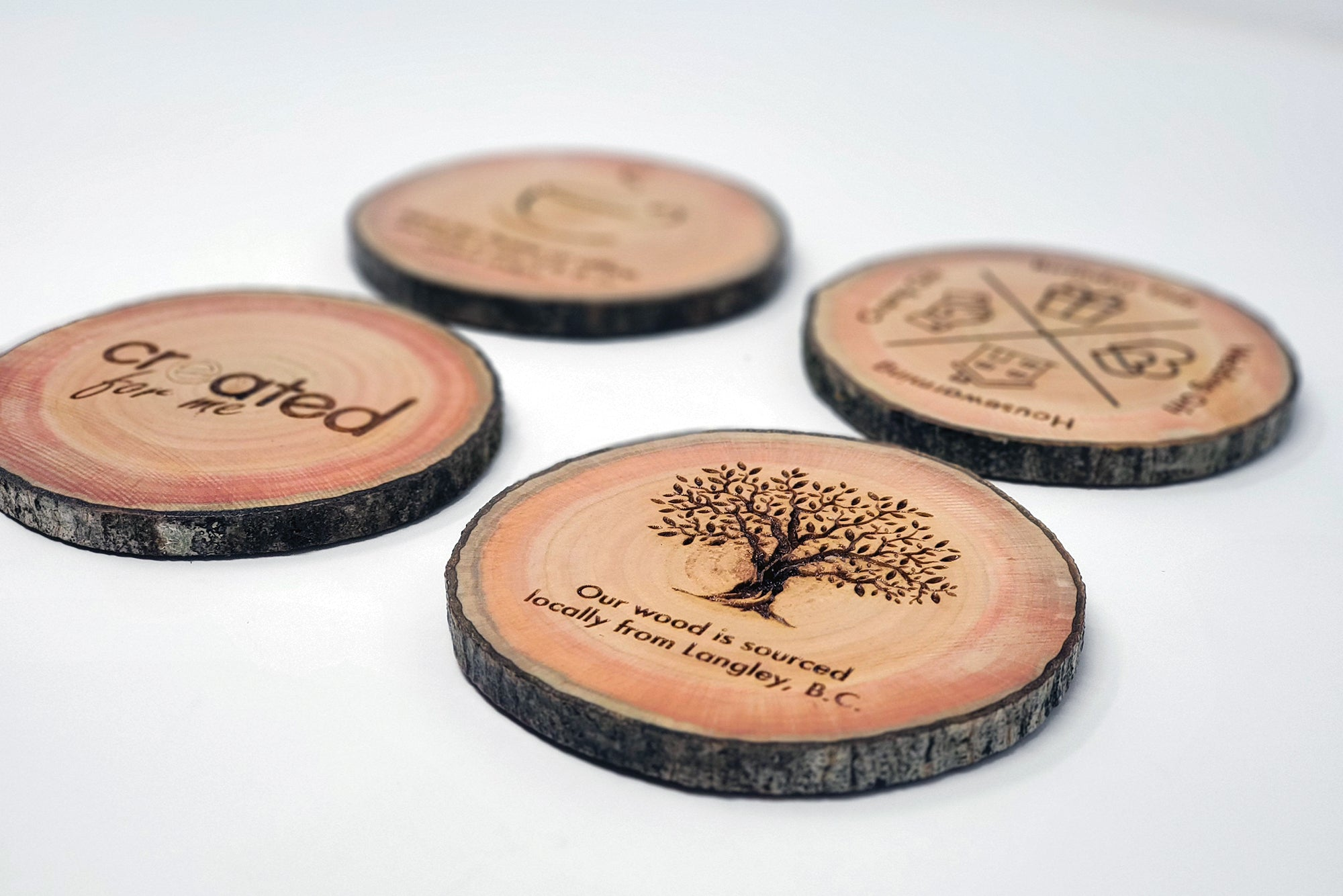 Live Edge Engraved Coasters - Set of 4